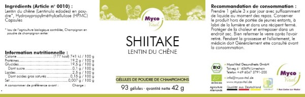 Shiitake Organic Vital Mushroom Powder Capsules