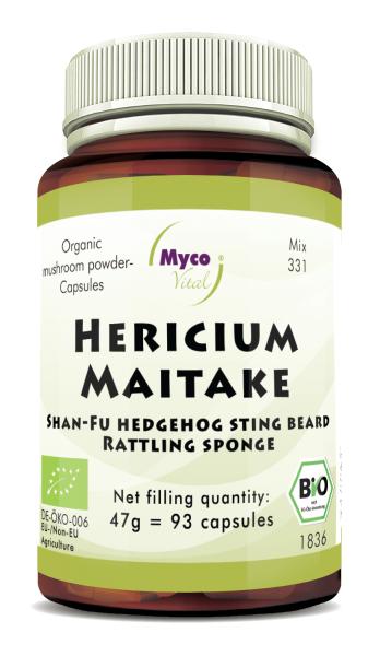 Hericium-Maitake Organic mushroom powder capsules (Mixture 331)