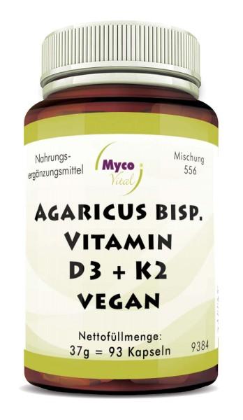 AGARICUS-VITAMIN D3 + K2 VEGAN Kapseln (Mischung 556)
