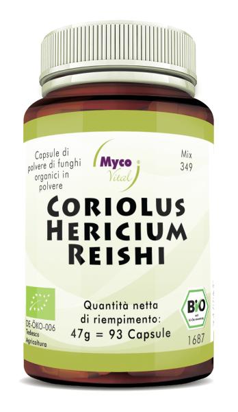 CORIOLUS-HERICIUM-REISHI Capsule organiche di funghi in polvere (miscela 349)