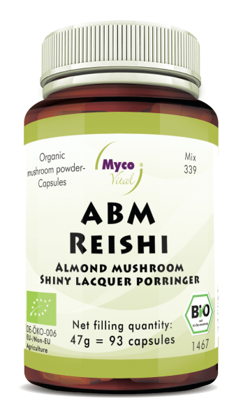 ABM-REISHI organic mushroom powder capsules (Blend no. 339)