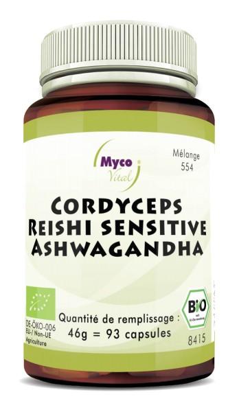 BIO CORDYCEPS-REISHI sens.-ASHWAGANDHA capsules de poudre de champignon (mélange 554)