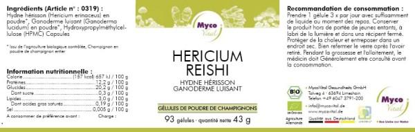 Hericium-Reishi Capsule di polvere di funghi organici (miscela 319)