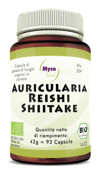 AURICULARIA-REISHI-SHIITAKE Organic Mushroom Powder Capsule (miscela 354)
