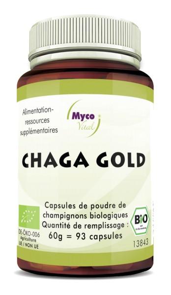 Chaga gold Capsules Poudre de champignons vitaux biologiques