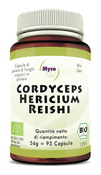 CORDYCEPS-HERICIUM-REISHI Capsule organiche di funghi in polvere (miscela 344)