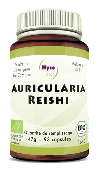 Auricularia-Reishi Capsules de poudre de champignons biologiques (mélange 341)