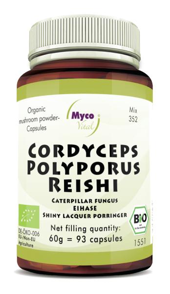 Cordyceps-Polyporus-Reishi Organic mushroom powder capsules (352)