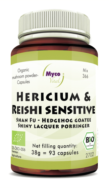 HERICIUM-REISHI Sensitive organic mushroom powder capsules (Blend no. 366)