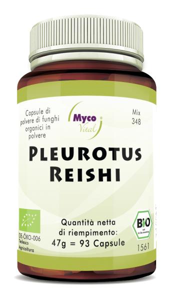 Pleurotus-Reishi Capsule di funghi organici in polvere (miscela 348)