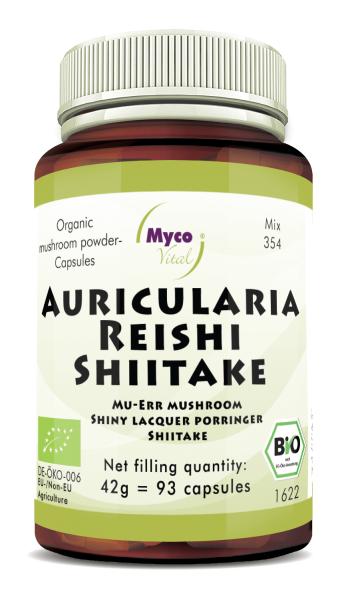 Auricularia-Reishi-Shiitake Organic mushroom powder capsules(blend 354)