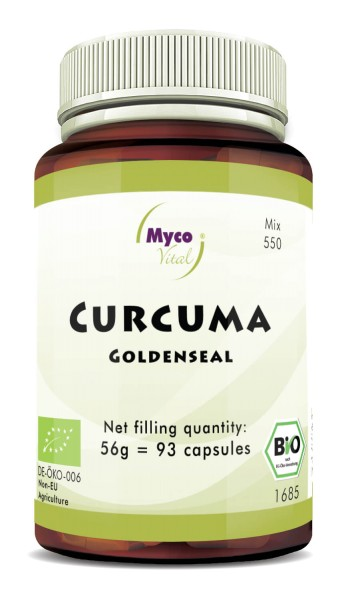 Curcuma with white pepper organic powder capsules (blend no. 550)