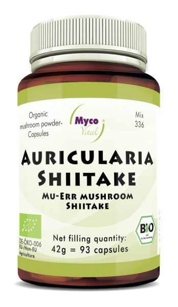 Auricularia-Shiitake Organic mushroom powder capsules (blend 336)