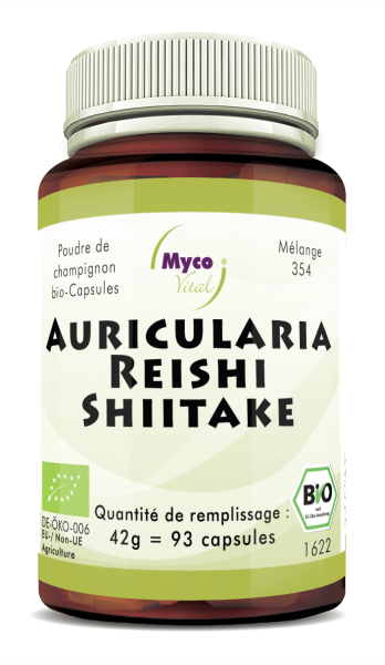 BIO AURICULARIA-REISHI-SHIITAKE capsules de poudre de champignon (mélange 354)