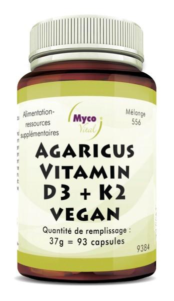 AGARICUS-VITAMIN D3 + K2 VEGAN capsules (mélange 556)