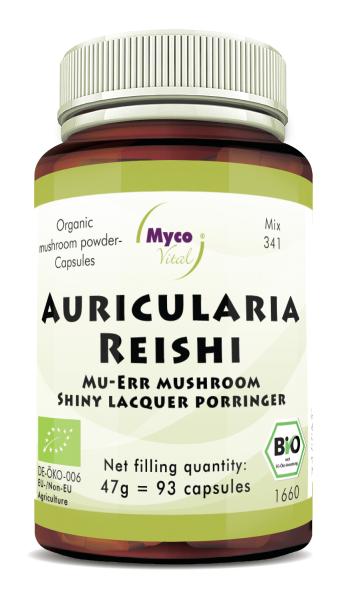 Auricularia-Reishi Organic mushroom powder capsules (Mixture 341)