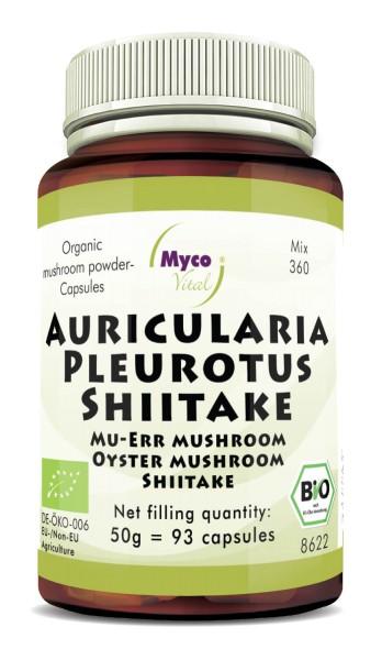 AURICULARIA-PLEUROTUS-SHIITAKE organic mushroom powder capsules (Blend no. 360)