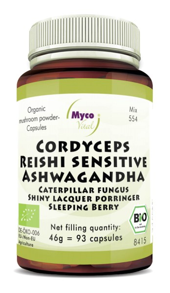 CORDYCEPS-REISHI sens.-ASHWAGANDHA powder capsules (blend no. 554)