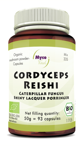 Cordyceps-Reishi Organic mushroom powder capsules (Mixture 335)