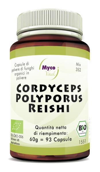 CORDYCEPS-POLYPORUS-REISHI Capsule organiche di funghi in polvere (352)