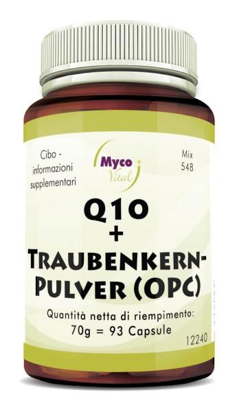 Q10 + TAPPE DI SEMI D'UVA (OPC) da semi d'uva biologici non disidratati (miscela 548)