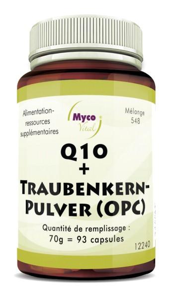 Q10 + CAPSULES DE PEPINS DE RAISINS (OPC) provenant de pépins de raisins biologiques non déshuilés (mélange 548)