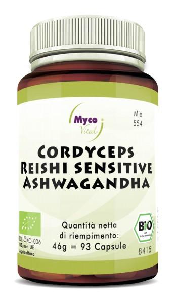 CORDCYEPS-REISHI sens.-ASHWAGANDHA capsule in polvere organica (miscela 0554)