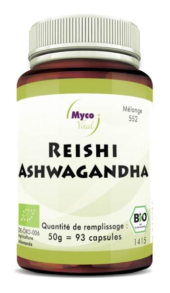 BIO REISHI-ASHWAGANDHA capsules de poudre de champignon (mélange 552)