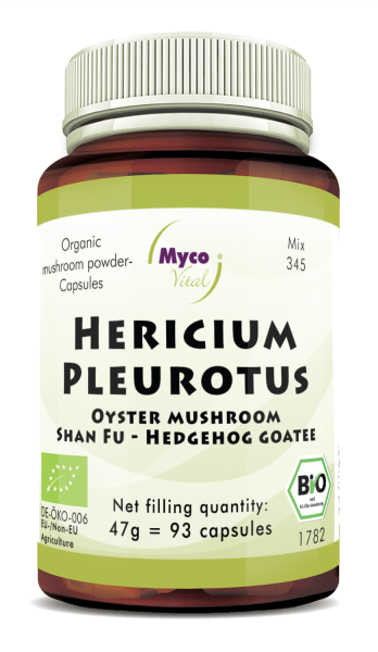 HERICIUM-PLEUROTUS organic mushroom powder capsules (Blend no. 345)