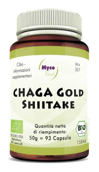 Chaga gold-Shiitake Capsule di funghi organici in polvere (miscela 357)