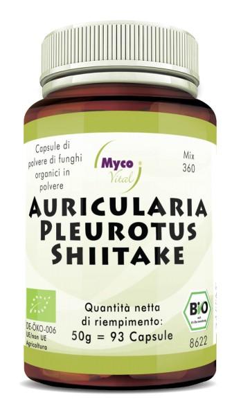 AURICULARIA-PLEUROTUS-SHIITAKE Capsule organiche di funghi in polvere (Miscela 360)