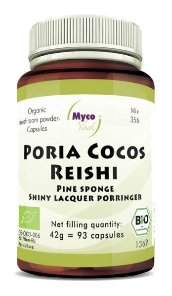 Poria Cocos-Reishi Organic mushroom powder capsules (Mixture 356)