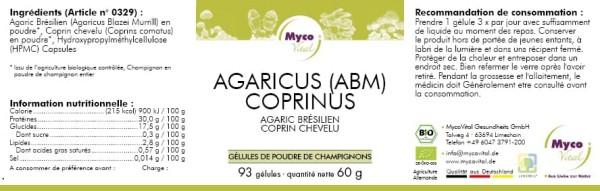 ABM-COPRINUS capsule organiche di funghi in polvere (miscela 329)