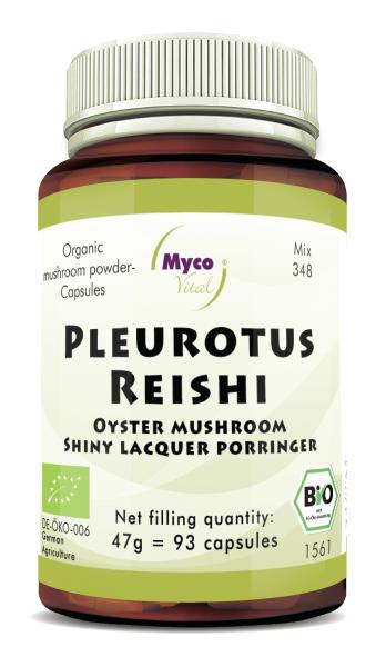 PLEUROTUS-REISHI organic mushroom powder capsules (Blend no. 348)