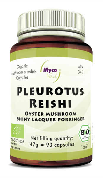 Pleurotus-Reishi Organic mushroom powder capsules (Mixture 348)