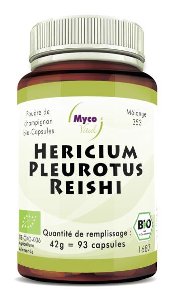 BIO HERICIUM-PLEUROTUS-REISHI capsules de poudre de champignon (mélange 353)