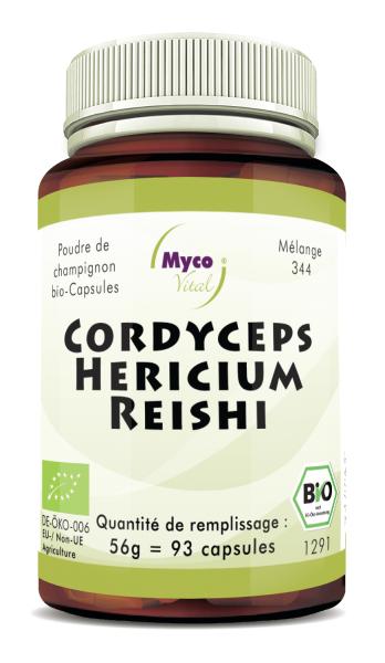 BIO CORDYCEPS-HERICIUM-REISHI capsules de poudre de champignon (mélange 344)