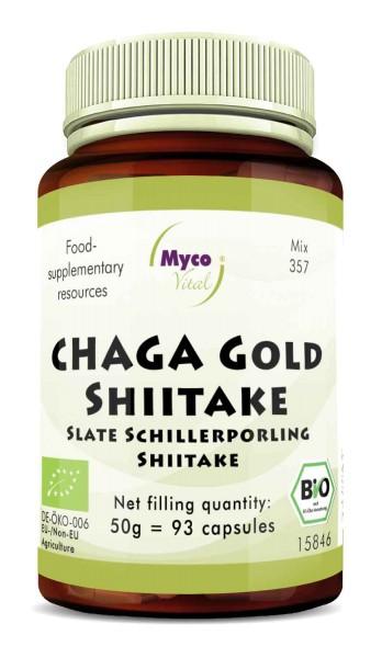 Chaga gold-Shiitake Organic mushroom powder capsules (Mixture 357)